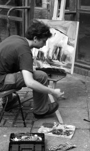 Douglas Roberts, painting outside Northbrook College in early 2008