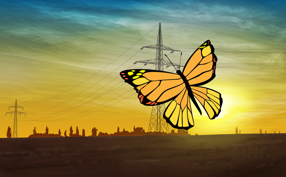 An image of a butterfly against a background of the sun setting behind pylons. This image will be used to demonstrate varying transparencies in live paint groups.