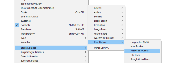 Navigate to user defined libraries in Illustrator