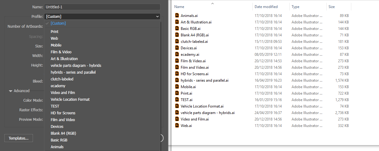 Side-by-side comparison of the new document profiles folder and the list in the new file window