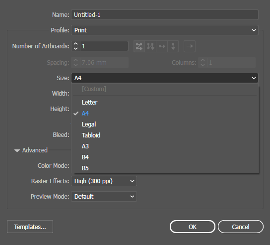 The list of size presets for a document profile in Illustrator