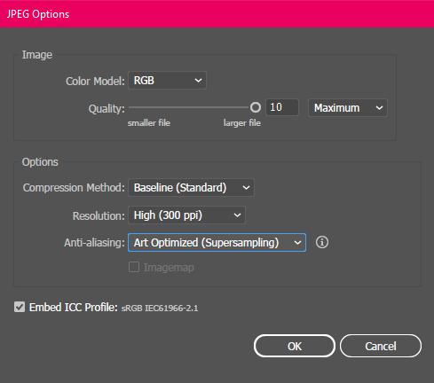 Illustrator export settings for a 300 PPI JPEG