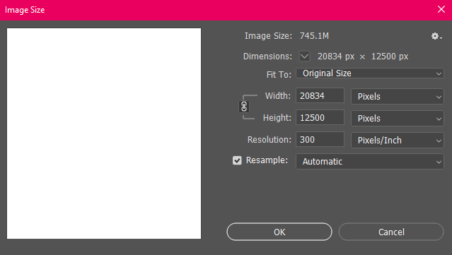 Image Size infornmation in Photoshop